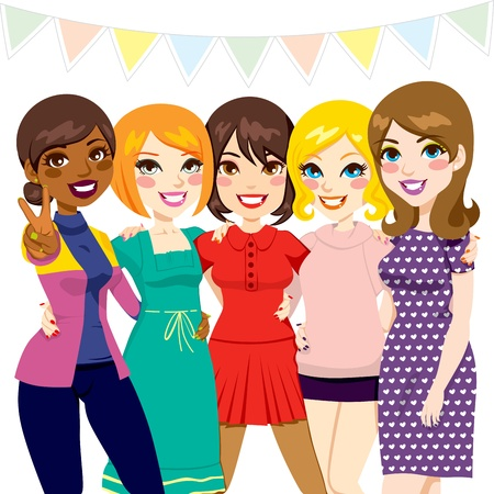 happy black woman: Five women friends having fun together at a celebration party Illustration