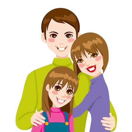 papa y mama: Feliz familia de padre y madre con hija posando juntos sonriendo