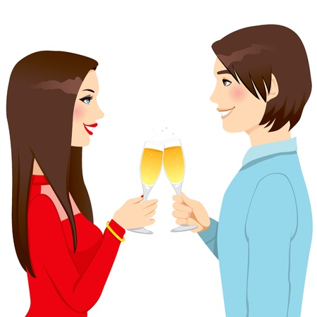 Happy young couple drinking champagne making toast of love celebrating anniversary