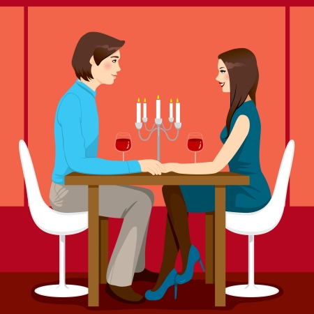 dining tables: Young adult couple drinking red wine after romantic anniversary dinner together in elegant restaurant