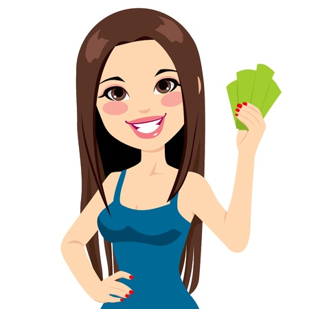 woman holding money: Young beautiful girl holding money bank notes fan Illustration