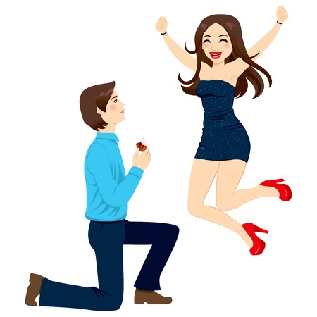 Handsome man proposing marriage to beautiful woman jumping happy in excitement with joy and energy