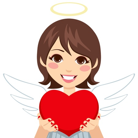 Sweet innocent looking angel cupid brunette woman holding big red heart in hands showing it
