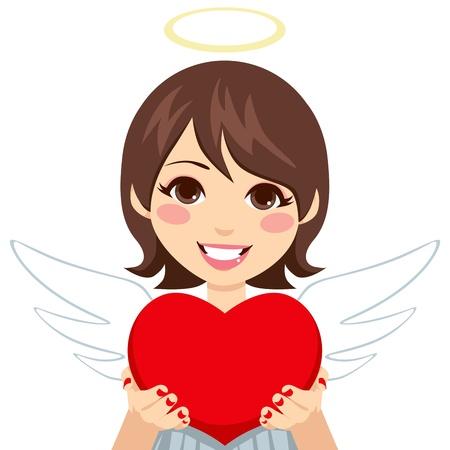 portrait: Sweet innocent looking angel cupid brunette woman holding big red heart in hands showing it