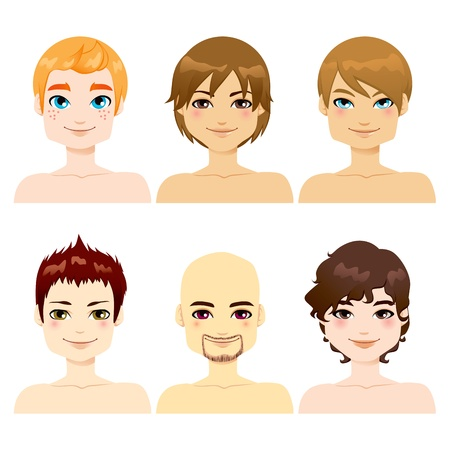 Collection of six handsome men faces with different hairstyles Stock Vector - 17242877