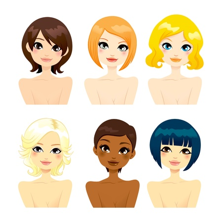 Collection of six beautiful multi-ethnic women faces with different short hair hairstyles Vector