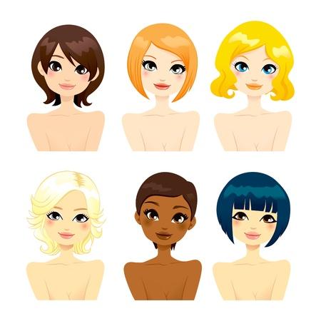 Raccolta di sei belle multi-etnico delle donne affronta con diverse acconciature di capelli corti Vettoriali