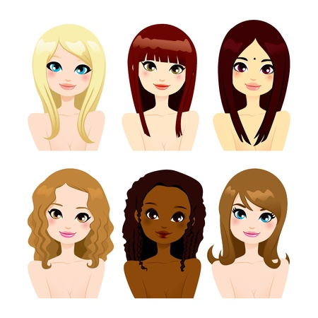 Multi-ethnic group of six beautiful women faces with different long hair hairstyles Vector