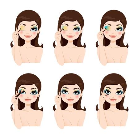 Attractive brunette montrant comment appliquer fantaisie bleu étapes yeux maquillage