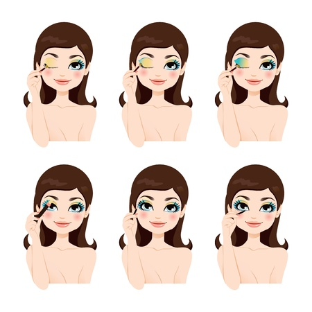 Attractive brunette showing how to apply fantasy blue eyes makeup steps Vector