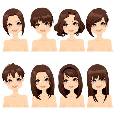 갈색 머리: 다른 헤어 스타일 패션의 컬렉션 아름 다운 소녀