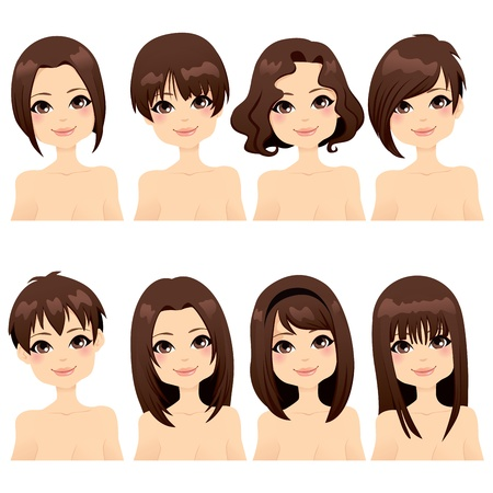 hair style set: Beautiful girl with collection of different hairstyle fashion