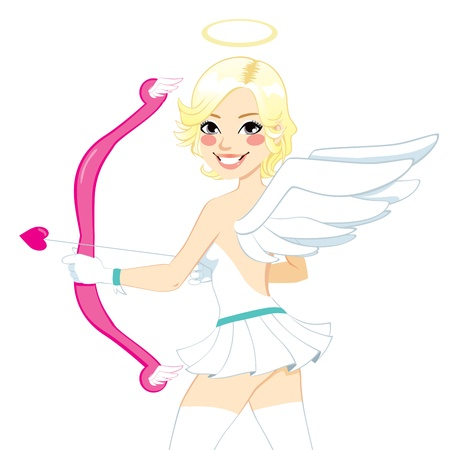 hair bow: Beautiful blonde Cupid angel woman smiling holding bow and love arrow Illustration