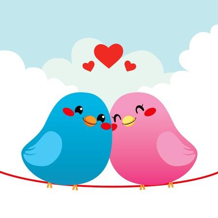 enamorados caricatura: Dos p�jaros encantadores en el amor juntos mejilla con mejilla encaramada en la l�nea del alambre Vectores