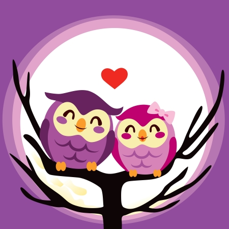 Lovely cute owl couple perched together on a full moon night Vector