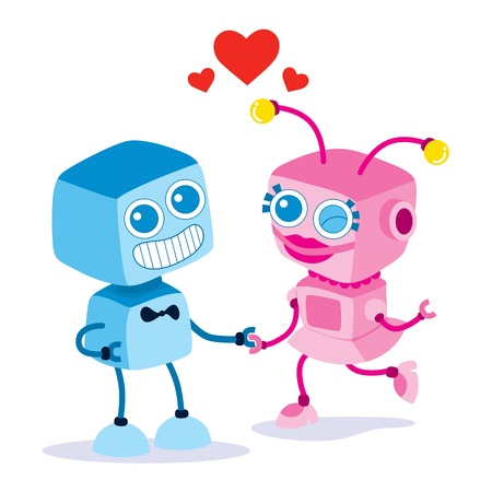 funny robot: Robot boy and girl together holding hands on Valentines day date