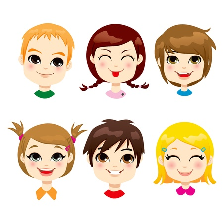 Collection of six different children facial expression Stock Vector - 17660606