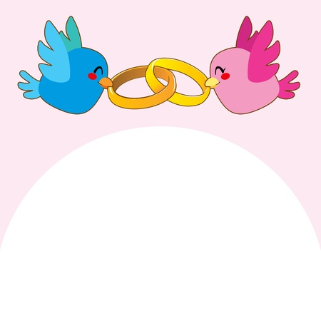 Lovely pink and blue birds holding gold engagement rings over pink background flying above white copy-space Vector