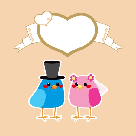 getting married: Cute birds in love wedding getting married under brown heart frame with copy-space