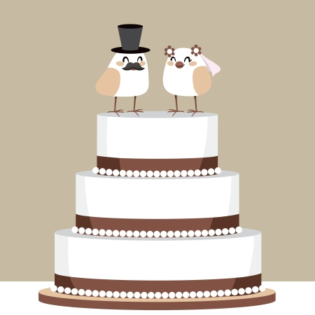top hat cartoon: Beautiful classic wedding cake with couple of cute birds love couple on top Illustration