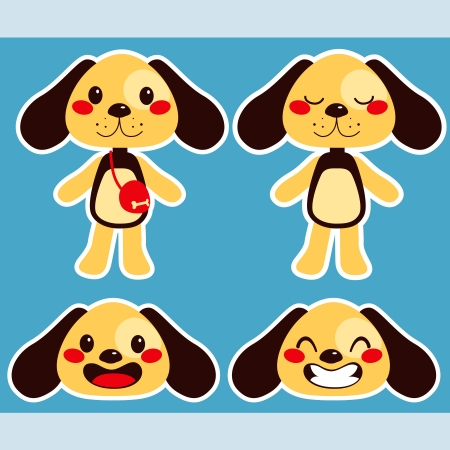 doggies: Cute little paper doll dog with different face expressions Illustration