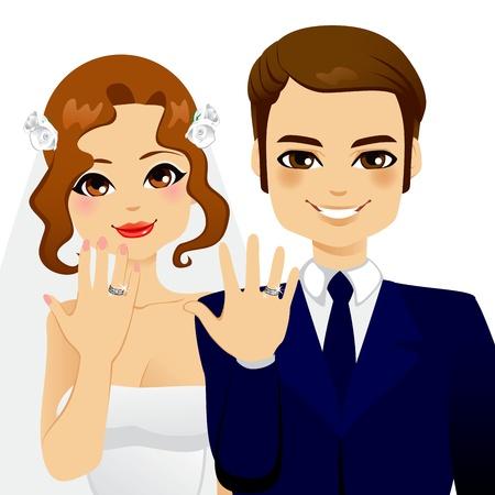 Beau couple marié montrant leurs anneaux de mariage de diamant Vecteurs