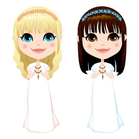 confirmacion: Dulces chicas rubias y una morena en vestido blanco en el primer acto de la comunión Vectores