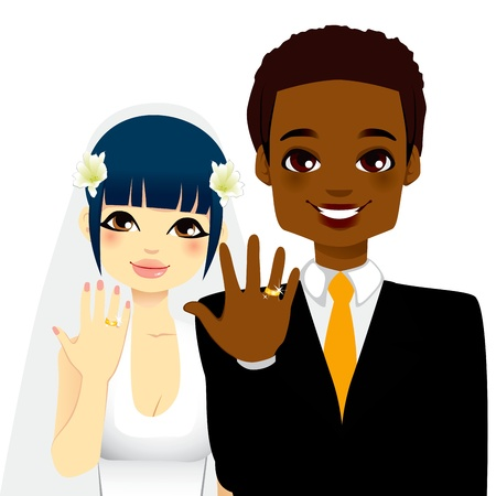engagement cartoon: Newlywed multi ethnic couple showing their gold wedding rings