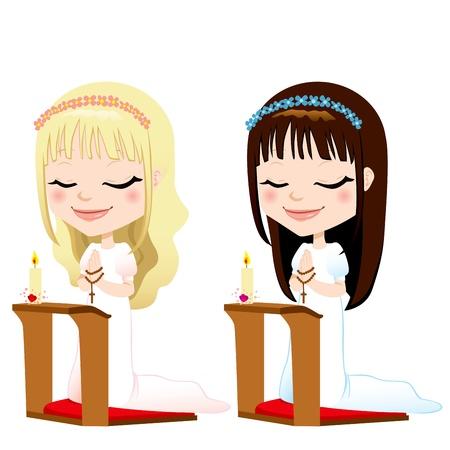 confirmacion: Linda rubia y morena niñas de rodillas rezando en la primera ceremonia de la comunión Vectores
