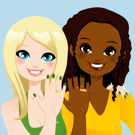 happy african woman: Young woman friends showing their forever friendship rings