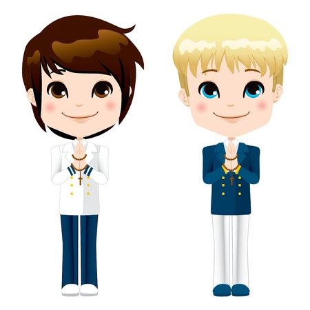 Little boys in suit on first communion ceremony Stock Vector - 17660599
