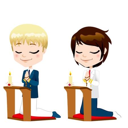 niño orando: Chicos lindos arrodillados rezando en la primera ceremonia de comunión Vectores