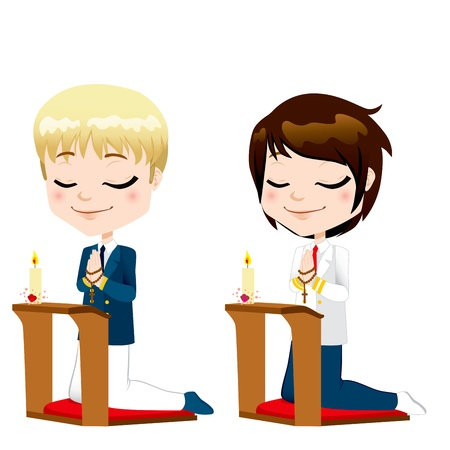 christian confirmation: Cute boys kneeling down praying on first communion ceremony Illustration