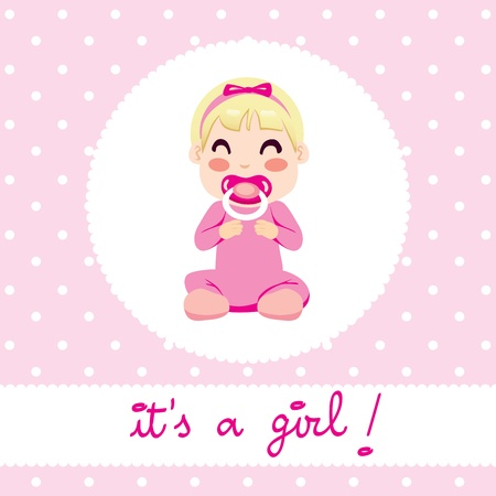 little girl sitting: Cute illustration design of newborn baby girl in pink onesie sitting with text  it Illustration