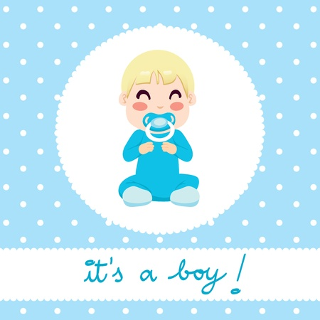 onesie: Cute illustration design of newborn baby boy in blue onesie sitting with text  it Illustration