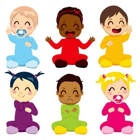 Multi-ethnic grupo de seis niños en trajes coloridos bebé toma diferentes expresiones Ilustración de vector