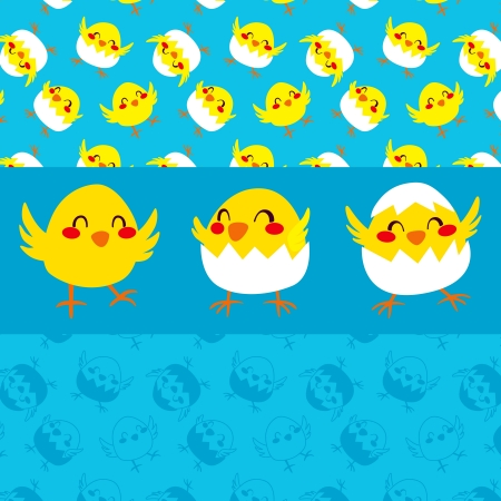 Three cute happy chicks dancing and celebrating Easter and seamless pattern background in two styles Vector