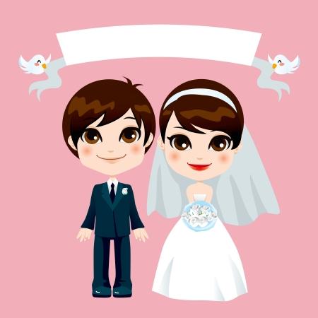 Illustration de mariage couple adorable doux avec la bannière vide détenu par les oiseaux qui volent Vecteurs