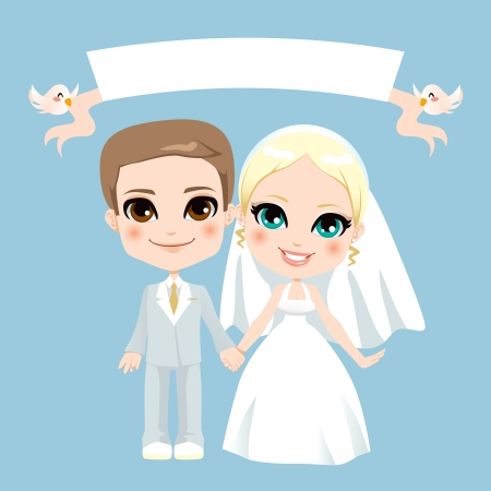 blonde hair cartoon: Illustration of lovely white couple wedding with birds holding empty banner Illustration