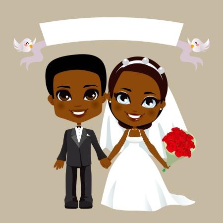 흰색 배너와 함께 사랑스러운 블랙 커플 결혼식의 그림