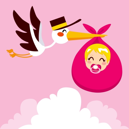 baby delivery: Stork flying with cute baby girl wrapped on pink blanket package for delivery