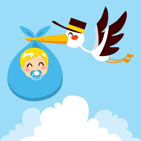 Stork flying with cute baby boy wrapped on blue blanket package for delivery Vector