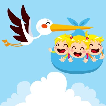 Stork vliegen met zware pakket met drie gelukkige baby drieling voor de levering