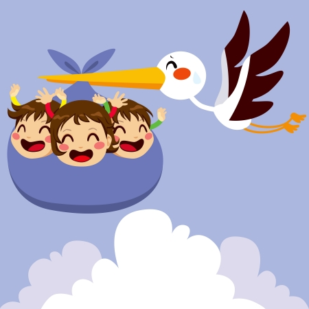 baby delivery: Cute stork flying with three excited baby triplets for delivery Illustration