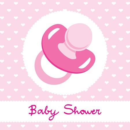 Pink chupete diseño para bebé niña tarjeta postal invitación de la ducha celebración Ilustración de vector