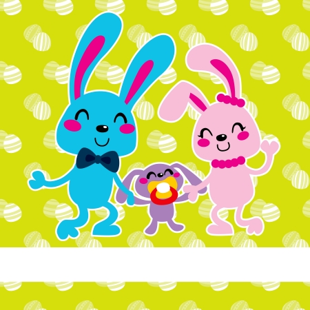 Adorable happy Easter bunny family celebrating celebrating together Stock Vector - 18066668