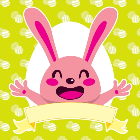 bunny ears: Happy pink Easter bunny cartoon character smiling with banner over green white egg background pattern