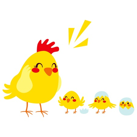 Hen mother with three adorable newborn little chicks Vector