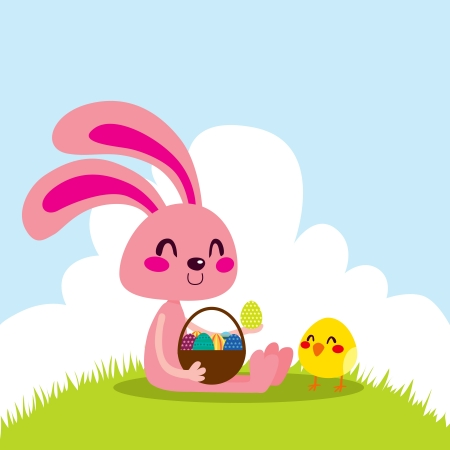 Pink bunny holding a basket full of colorful Easter eggs with little chick friend Stock Vector - 18066662