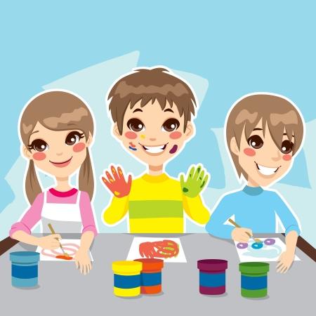 Drie jonge kinderen plezier schilderij kleurrijke tekeningen